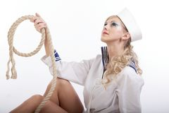Sailor Girl with Rope Stock Photography