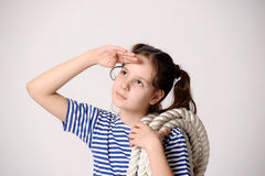 Sailor Girl with Rope Stock Photos