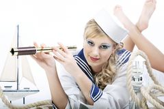 Sailor Girl with telescope Royalty Free Stock Images