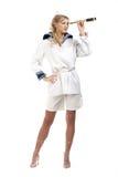 Sailor Girl With Telescope Stock Photo