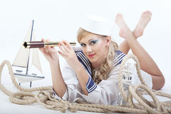 Free Sailor Girl With Telescope Royalty Free Stock Photo - 16640985