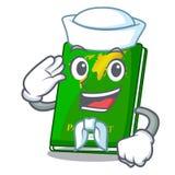 Sailor green passport in a character bag. Vector illustration royalty free illustration