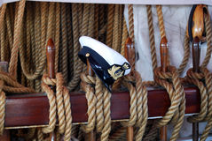 Sailor hat. A professional sailor hat on a ship royalty free stock photography