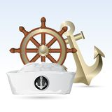 Sailor Hat with Steering Wheel and Anchor Royalty Free Stock Image