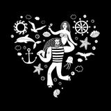 Sailor holding mermaid, heart shape illustration. Sea icons in heart shape with sailor holding mermaid on black background. Sea illustration for your design Royalty Free Stock Images