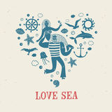 Sailor holding mermaid, heart shape illustration. Sea icons in heart shape with sailor holding mermaid on textured background. Sea illustration for your design Stock Photo