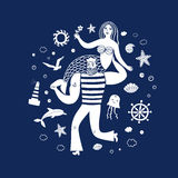 Sailor holding mermaid. Sea icons cartoon set with sailor holding mermaid. Sea illustration for your design Royalty Free Stock Photography