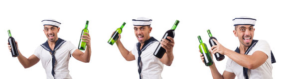 The sailor isolated with wine bottle Stock Photo