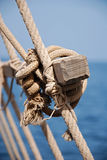 Sailor knot close-up. Close-up photo of  sailor knot and ropes on  a sailboat Stock Images