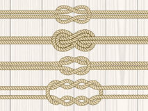 Sailor knot dividers set. Nautical rope infinity sign. Rope border. Tying the knot. Graphic design element for wedding invitations, baby shower, birthday card Royalty Free Stock Photo