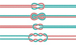 Sailor knot and rope dividers and borders set Stock Photo