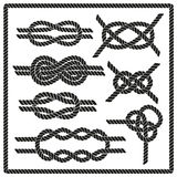 Sailor knot set. Nautical rope infinity sign. Corner element. Rope frame border. Tying the knot. Graphic design element for wedding invitations, baby shower Stock Images