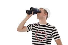 Sailor looking into binocular Royalty Free Stock Photos