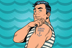 Sailor with Lorem ipsum tattoo on hand Stock Images