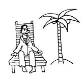 Sailor man in a suit rests on a wooden deck chair under a palm tree cartoon comic  illustration Royalty Free Stock Image
