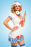 Sailor melomaniac. Royalty Free Stock Image