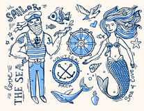 Sailor and mermaid Stock Image