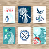Sailor and mermaid Royalty Free Stock Photos