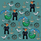 Sailor and mermaid. Sailor, mermaid, wheel and a seagull on the blue background. Vector illustration. Author's drawing Royalty Free Stock Images