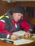 Sailor at navigation table Royalty Free Stock Photos