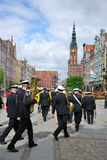 Sailor orchestra in old Gdansk city Stock Photos