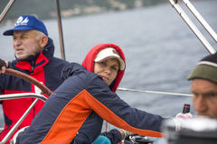 Sailor participate in sailing regatta 11th Ellada 2014 Royalty Free Stock Images
