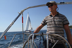 Sailor participates in sailing regatta in Turkey Stock Photo