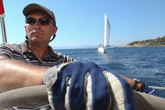 Sailor participates in sailing regatta in Turkey Royalty Free Stock Photography