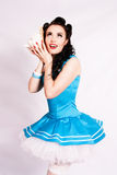 Sailor pin up girl with a shell. Royalty Free Stock Photography