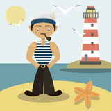 Sailor with a pipe and a lighthouse Royalty Free Stock Image
