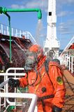 Sailor in a protective suit Royalty Free Stock Image