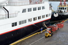 The sailor puts things in order on the ship in the port of Punta Arenas. Stock Image