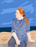 Sailor's striped vest. Young girl in sailor's striped vest Royalty Free Stock Photography