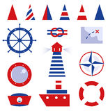 Sailor and sea icons Royalty Free Stock Photos