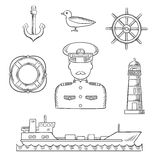 Sailor, seaman and captain profession design Stock Images