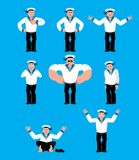 Sailor set poses and motion. Russian soldier seafarer happy and. Yoga. sleeping and angry Seaman Military in Russia . guilty and sad. Illustration for 23 Stock Images