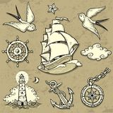 Sailor Set. Set of vector illustrations on the theme of sea travel in tattoo style Royalty Free Stock Photography