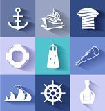 Sailor and ships flat web icons Royalty Free Stock Images