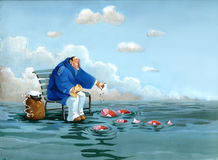 Sailor. A sailor sitting on the sea throws bread crumbs to the fish that rise like birds Stock Photography