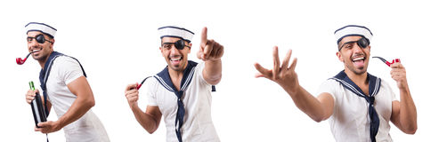 The sailor with smoking pipe isolated Stock Photography
