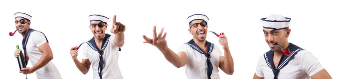 The sailor with smoking pipe isolated. Sailor with smoking pipe isolated Stock Image