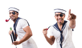 The sailor with smoking pipe isolated. Sailor with smoking pipe isolated Royalty Free Stock Photos