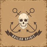 Sailor spirit. Skull with anchors Royalty Free Stock Photography