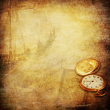 Sailor stories and old times nostalgia background. Nostalgia of the past: a broken locket with the image of a sailor, a golden pocket watch, the profile of a royalty free illustration