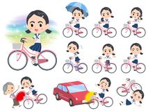 Sailor suit Thick eyebrows girl_city bicycle Royalty Free Stock Photo