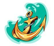 Sailor tattoo - anchor in water Stock Photo