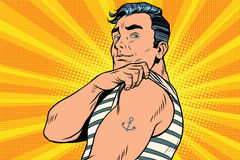 Sailor with tattoo on hand Royalty Free Stock Photos