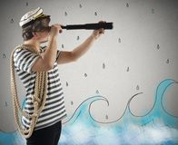 Sailor with the telescope Royalty Free Stock Photography