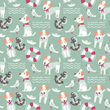 Sailor terrier dog seamless pattern. Royalty Free Stock Photos