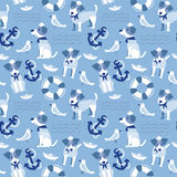 Sailor terrier dog seamless pattern. Royalty Free Stock Photo
